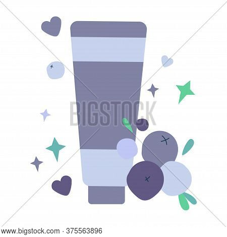 Illustration With Tube Of Cream For Skin. Natural Skin Care Based On Blueberries And Bilberry. Scrub