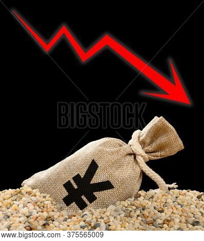 Rmb Money Bag Sink Into Rubble And A Fluctuation Arrow On Background Monetary Concept