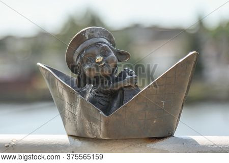 Copper Sculpture Khomlin In The Ship On The Embankment Of Peter The Great, The City Of Kaliningrad,