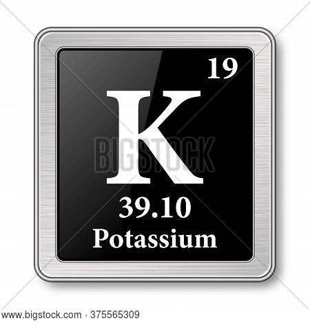 Potassium Symbol.chemical Element Of The Periodic Table On A Glossy Black Background In A Silver Fra