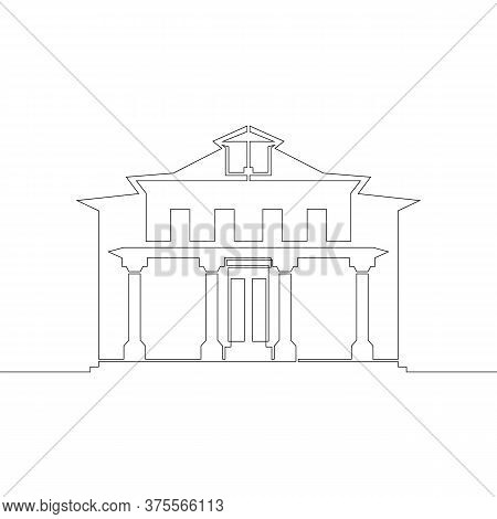 One Continuous Drawing Line Logo Symbol Historic Old European House Architecture .single Hand Drawn