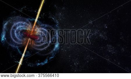 Abstract Space Wallpaper. Black Hole With Infinity Curves Lines In Outer Space. Copy Space. Elements