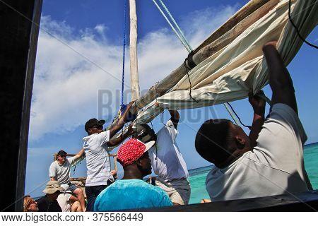 Nungwi, Zanzibar / Tanzania - 01 Jan 2017: Boat In Indian Ocean Of Zanzibar, Tanzania