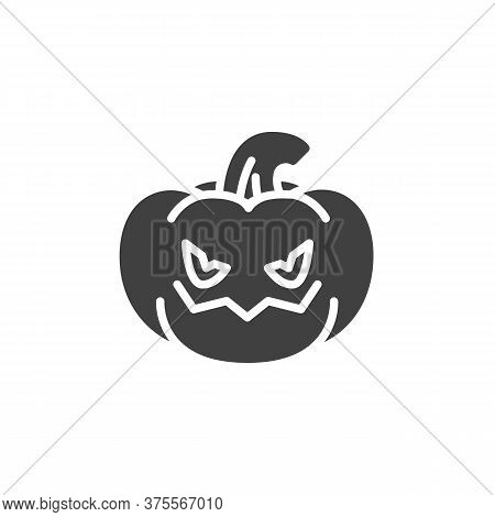 Angry Pumpkin Face Emoji Vector Icon. Filled Flat Sign For Mobile Concept And Web Design. Crazy Pump