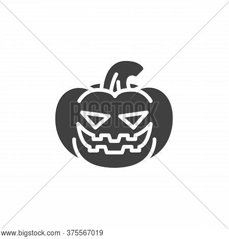 Laughing Pumpkin Face Emoji Vector Icon. Filled Flat Sign For Mobile Concept And Web Design. Hallowe