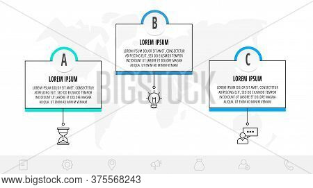 Thin Line Infographic Template With 3 Steps, Labels. Modern Business Concept Infographics With Circl