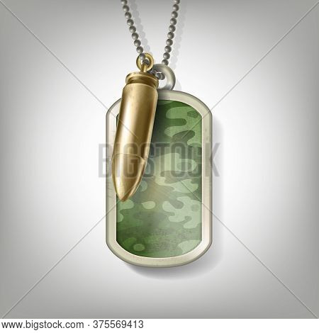 Metal Camouflage Tag With A Bullet Hanging On A Chain Isolated On Grey Background. Blank Army Medall