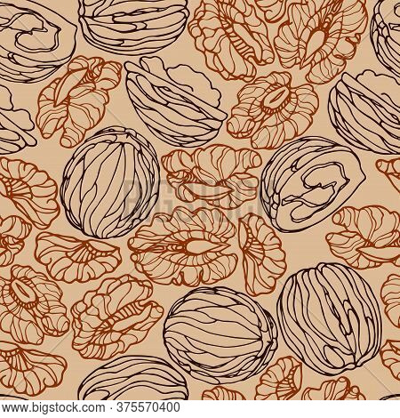 Abstract Seamless Pattern Of A Set Of Walnuts & Kernels, For Menu Design Or Confectionery, Textiles,