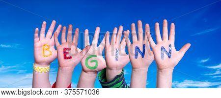 Children Hands Building Word Beginn Mean Beginning, Blue Sky