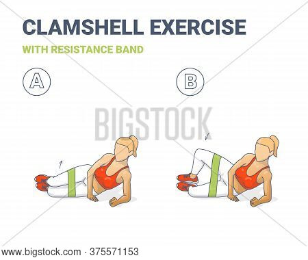 Clamshell With Resistance Band Sport Exersice. Colorful Concept Of Girl Doing Hip Abduction With Ela