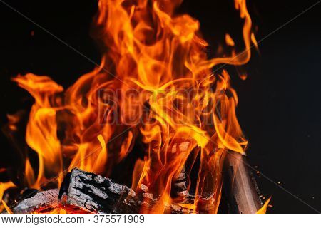 Burning Firewood In A Barbecue Or Barbecue.