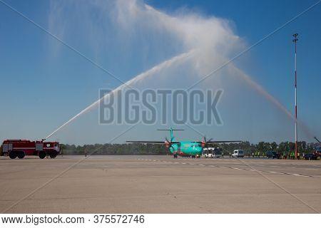 Kyiv, Ukraine - June 27, 2020: Aircraft Atr 72-212a Airline Windrose. Airplane Medium-range Turbopro