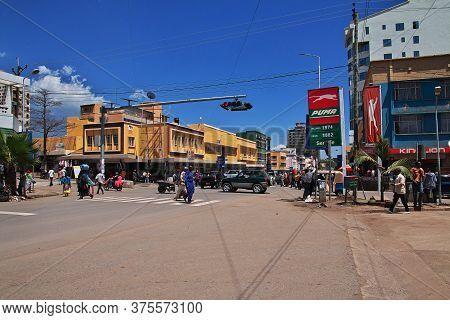 Arusha / Tanzania - 03 Jan 2017: The The Stop Light On The Street In Arusha City, Tanzania