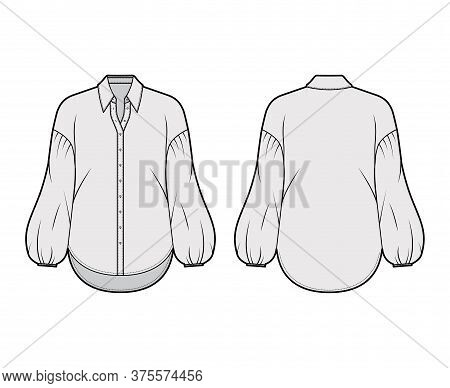 Shirt Technical Fashion Illustration With Collar Stand, Dropped Long Puff Sleeves, Oversized Body, F