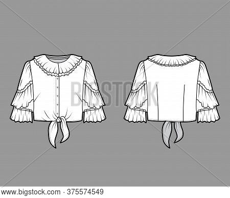 Cropped Tie-front Blouse Technical Fashion Illustration With Ruffled Collar And Sleeves, Front Butto