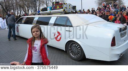 Odessa, Ukraine - 04 01 2019: Escort Car For Ghost Fighting On April Fool's Day On The Boulevard Nea