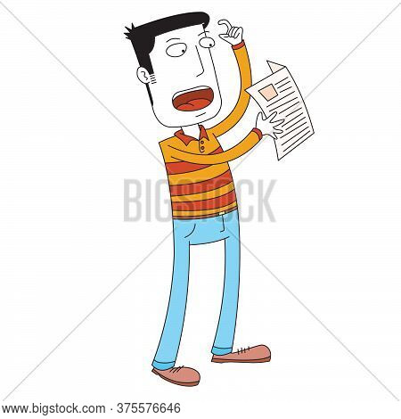 A Standing Man Read A News Paper