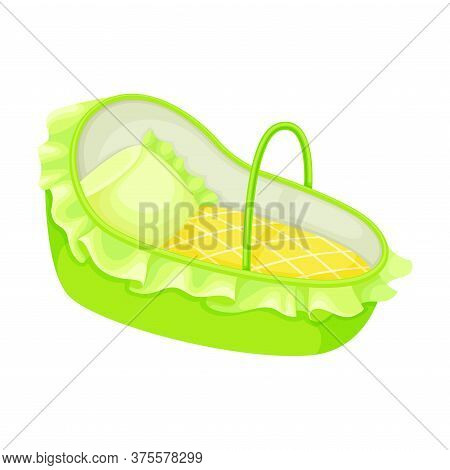 Blue Carrycot Or Basket For Carrying Baby Vector Illustration