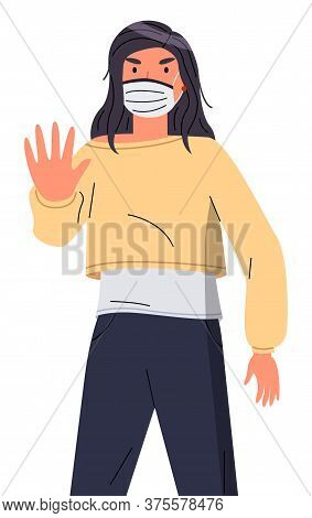 Isolated Portrait Of Young Woman Wearing Face Medical Mask Show Stop Gesture At White Background. Vi