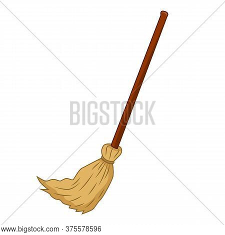 Broom Isolated Illustration On White Background. Vector
