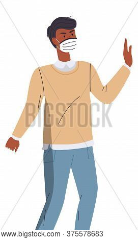Isolated Portrait Of Black Man Wearing Face Medical Mask Show Stop Gesture At White Background. Vira