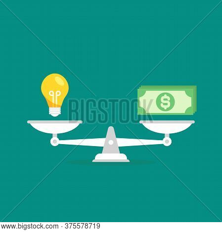 White Mechanical Scales With Dollar Banknote And Light Bulb In Pans. Idea Value, Solution And Expens