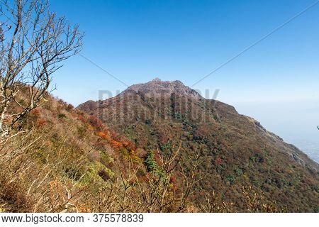 Colorful Autumn View Of Myoken Peak (myōken) Of Mount Unzen In Unzen Amakusa National Park. Rocky Vo