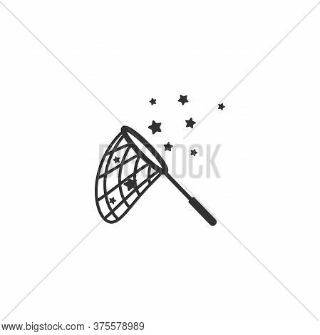 Butterfly Net With Stars. Catch, Hunt, Chase Ideas And Inspiration Symbol.
