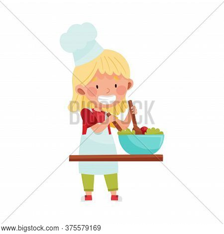 Cute Girl Character In Hat And Apron Standing At Kitchen Table And Stirring Salad Vector Illustratio