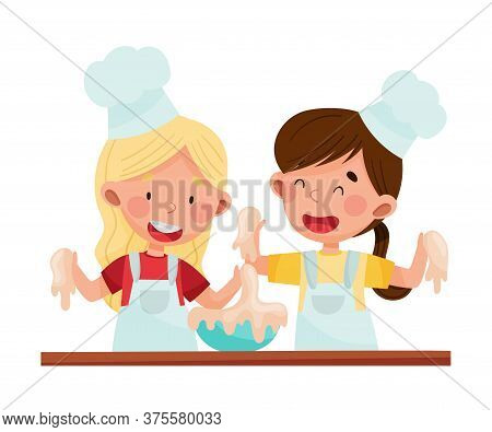 Smiling Girl Chef Characters Wearing Apron And Hat Kneading Dough Vector Illustration