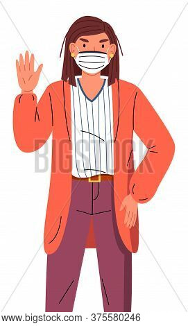 Vector Portrait Of Young Woman Wearing Face Medical Mask Show Stop Gesture At White Background. Vira