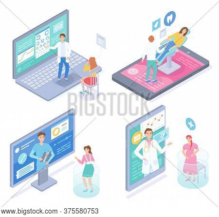 Set Of Isometric Illustrations. Concept Of Online Medical Treatment. Consulting With Doctors In Inte