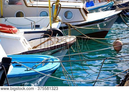 Moored Boats At Marina In The Sunny Afternoon