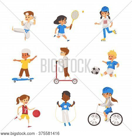 Active Children Sport Activity Set Of Flat Vector Illustrations Isolated.