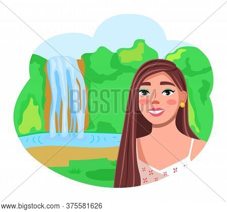 Young Cheerful Girl Make Selfie During Traveling. Traveler Make Photo At Waterfall Background. Happy