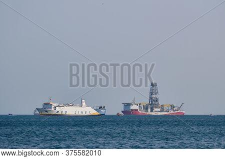 Turkish Offshore Drilling Platform Vessel Does Exploration Of Mineral Deposits. Tasucu, Mersin, Turk