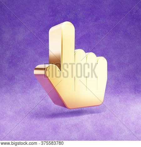 Link Icon. Gold Glossy Link Pointer Symbol Isolated On Violet Velvet Background. Modern Icon For Web