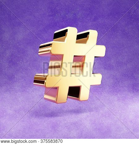 Hashtag Icon. Gold Glossy Hashtag Symbol Isolated On Violet Velvet Background. Modern Icon For Websi