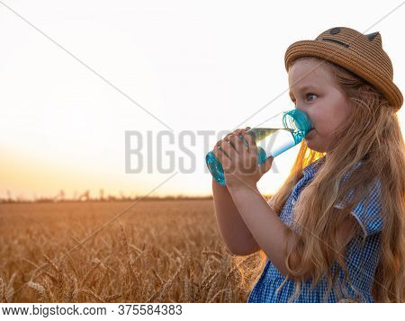 Young Girl In Straw Hat Holds Reusable Bottle In Hands And Drinks Water In Wheat Field. Pure Mineral