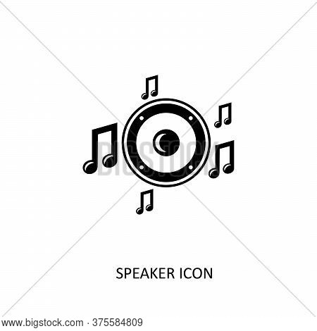 Speaker Icon With Music Note Isolated On White Background. Speaker Icon Vector Flat Illustration For