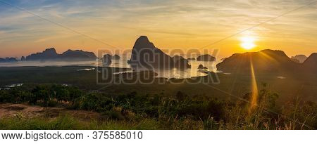 Amazing Wild Nature Of Asia. Scenic Landscape In Phang-nga Bay At Sunrise. Samet Nangshe Viewpoint.