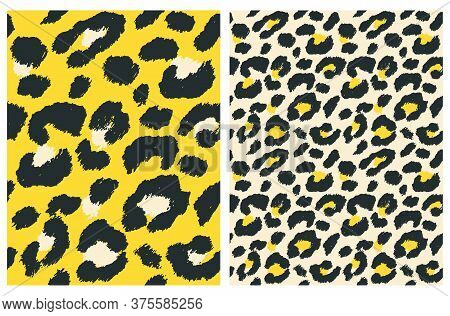 Cute Abstract Wild Animal Skin Vector Pattern. Black Brush Irregular Spots Isolated On A Cream And Y