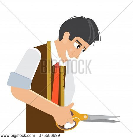 The Tailor Is A Man. A Tailor From A Sewing Studio. Tailor On A White Background Illustration