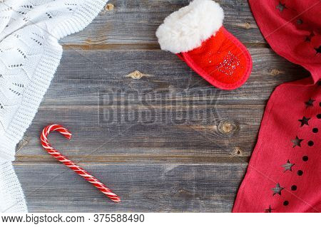 New Year Flatl Ay Christmas Decorations Santa Claus Mitten, Caramel Candy Cane, White Woolen Plaid A