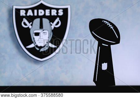 Las Vegas Raiders Professional American Football Club, Silhouette Of Nfl Trophy, Logo Of The Club In