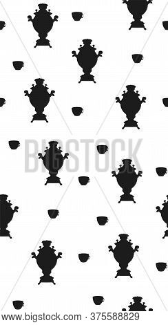 Seamless Pattern Black And White Colors. Samovar And Cup Of Tea