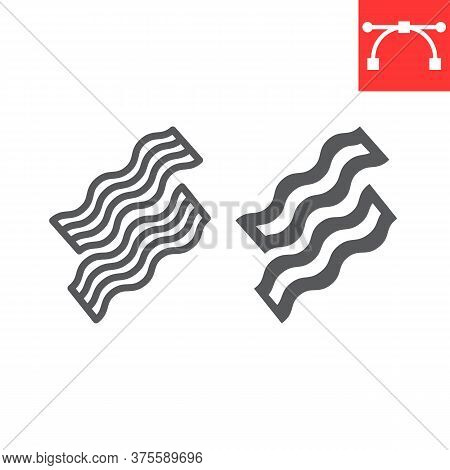 Bacon Line And Glyph Icon, Food And Keto Diet, Bacon Stripes Sign Vector Graphics, Editable Stroke L