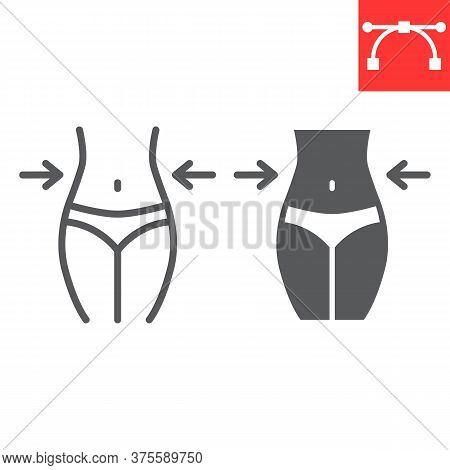 Weight Loss Line And Glyph Icon, Fitness And Diet, Fit Body Sign Vector Graphics, Editable Stroke Li