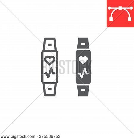 Fitness Tracker Line And Glyph Icon, Fitness And Sport, Fitness Band Sign Vector Graphics, Editable