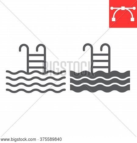 Swimming Pool Line And Glyph Icon, Fitness And Swim, Pool Sign Vector Graphics, Editable Stroke Line